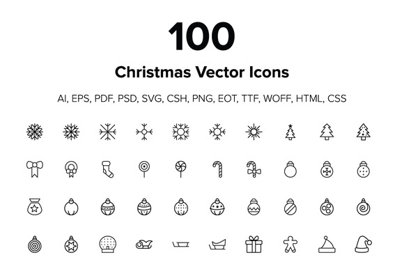100 Merry Christmas Icons