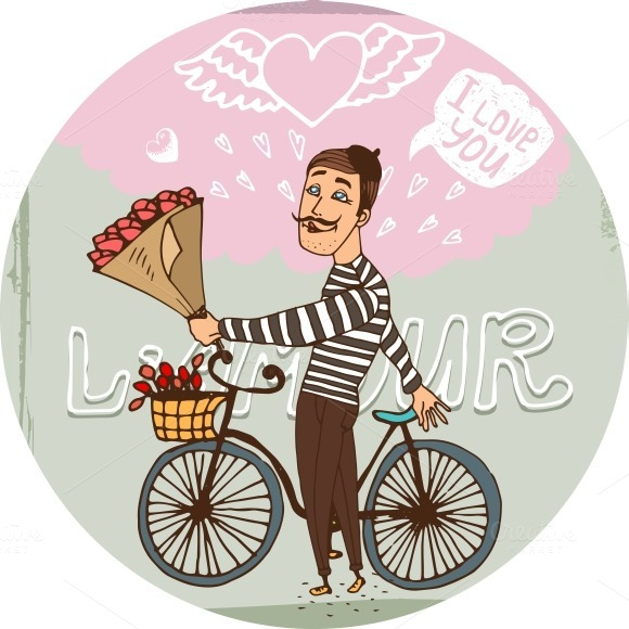 Amorous Frenchman On A Bicycle