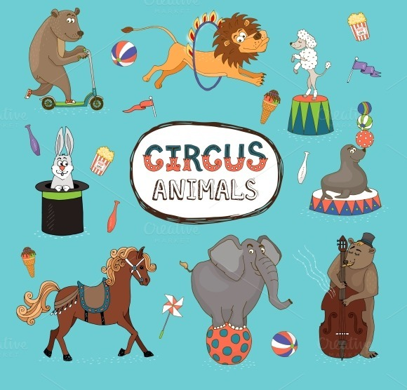 Colorful Circus Animals
