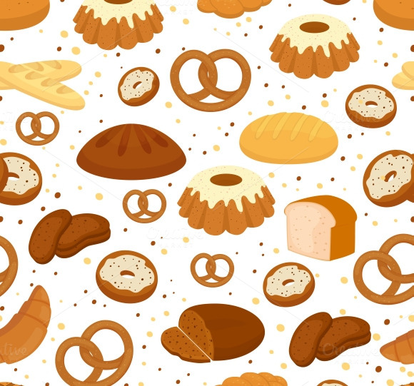 Bread And Baking Seamless Pattern