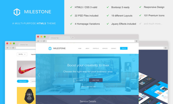 Milestone Multi-Purpose HTML5 Theme
