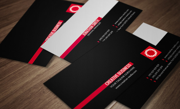 Red Black Business Card CM025
