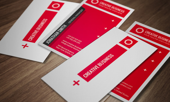 Red White Business Card CM028