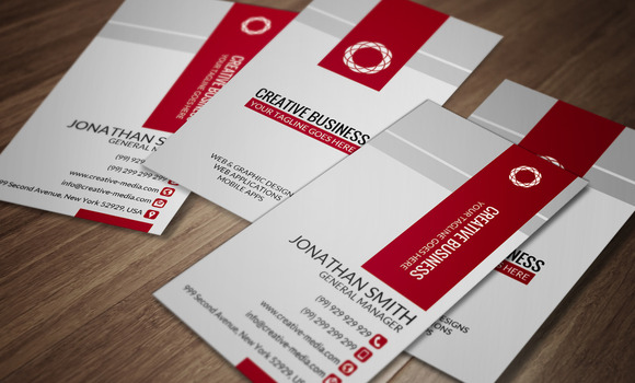 Red White Business Card CM029
