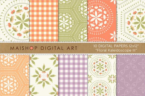 Digital Paper-Floral Kaleidoscope 3