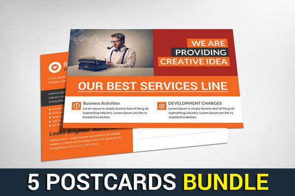 5 Corporate Business Postcard Bundle