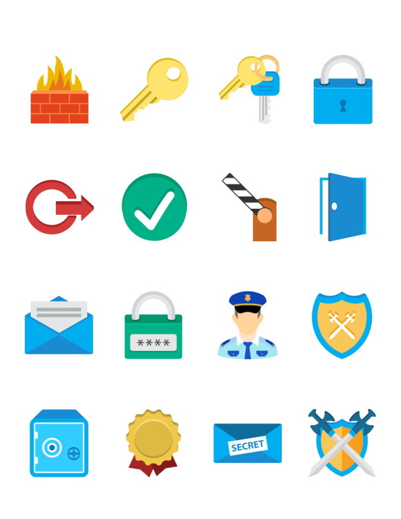 Security And Protection Flat Icons
