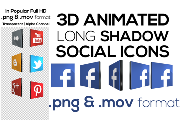 3D Social Network Icons Animated