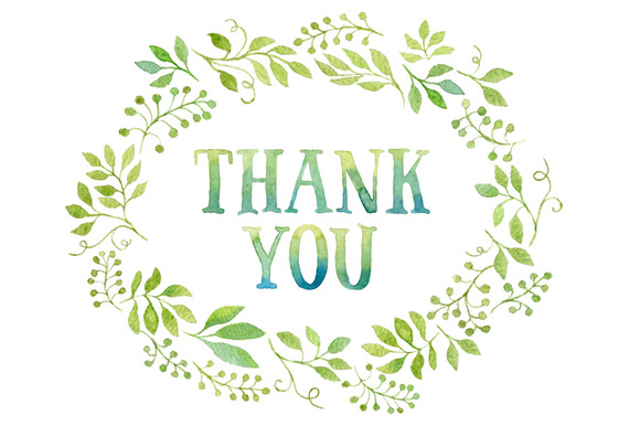 Thank You Tag In Green Leaves Wreath