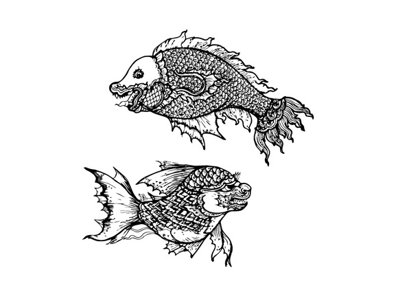 Drawing Of Fish Thai Traditional