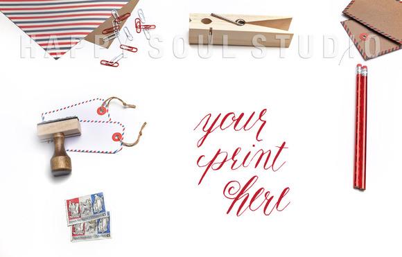White Desk Envelopes Stamps Paper