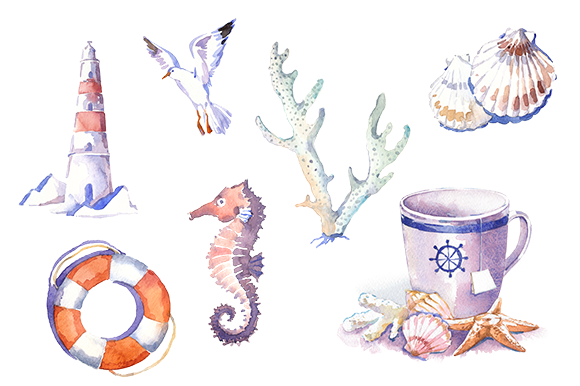 Watercolor Marine Clipart Set