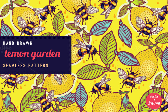 Yellow Lemons And Bees Pattern
