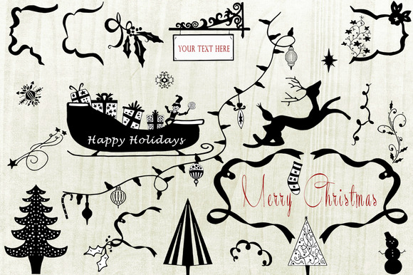 Hand Sketched Christmas Clipart #1