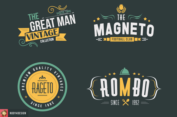 4 Vintage Badges And Logos