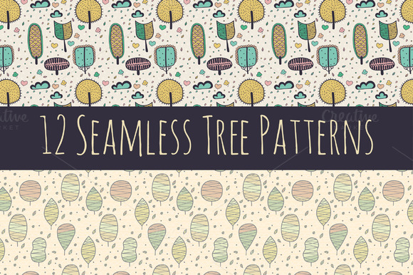 Seamless Doodle Tree Patterns