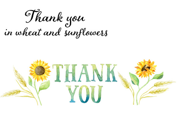 Thank You Tag In Wheat Sunflowers