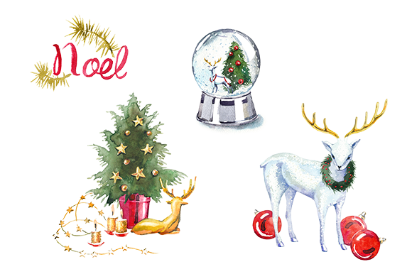 Watercolor Christmas Clipart Set
