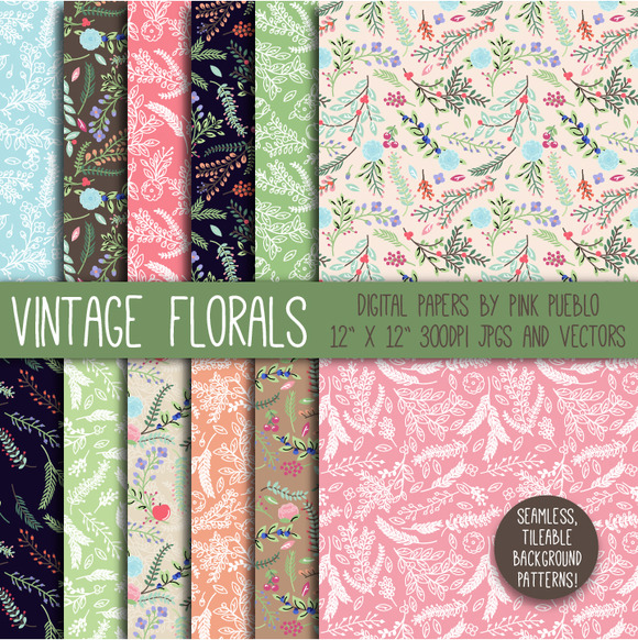 Vintage Floral Papers And Background
