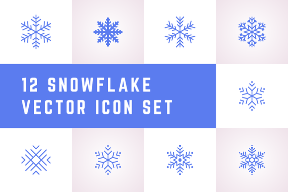 12 Snowflake Vector Icon Set