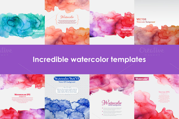 Set Of Watercolor Templates
