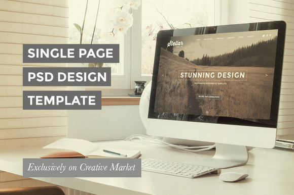 One Page PSD Template Design