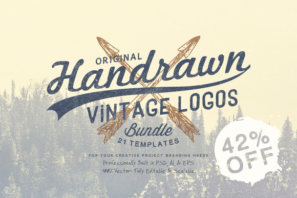 Hand Drawn Vintage Logos Bundle