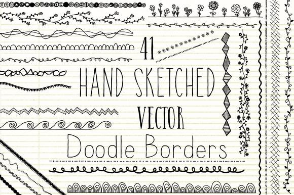 Hand Sketched Vector Doodle Borders
