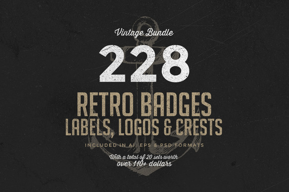 228 Retro Badges Logos Bundle