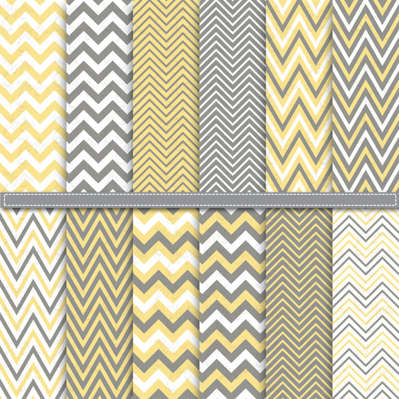 Yellow Grey Chevron Digital Paper