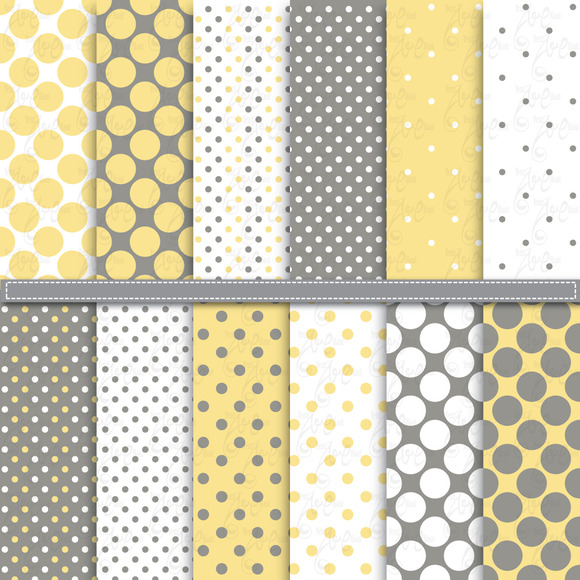 Yellow Grey Polka Dot Digital Paper