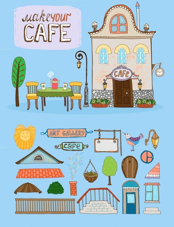 Cafe House Illustration