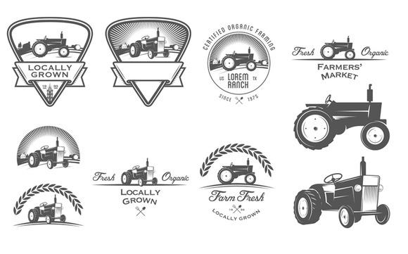 Retro Tractor Logos Set