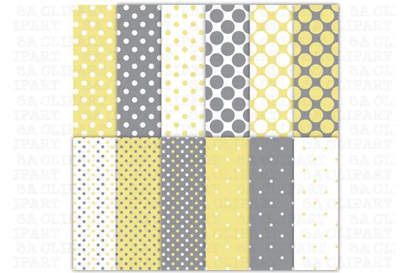 Yellow Grey Polka Dots Digital Paper