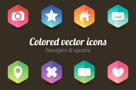Colored Web Hexagon Icon Set