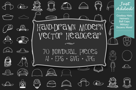 Hand-Drawn Modern Headgear Art