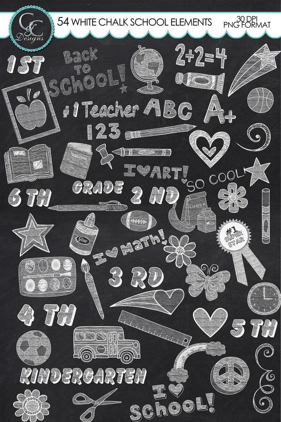 104 White Chalk School Elements Clip