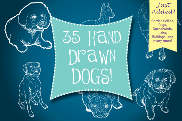 Hand Drawn Dogs Puppies
