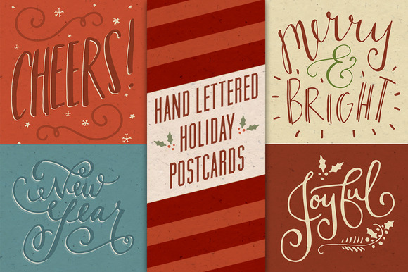 Hand Lettered Holiday Postcards