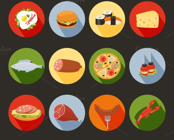 Food Icons On Colorful Rounds