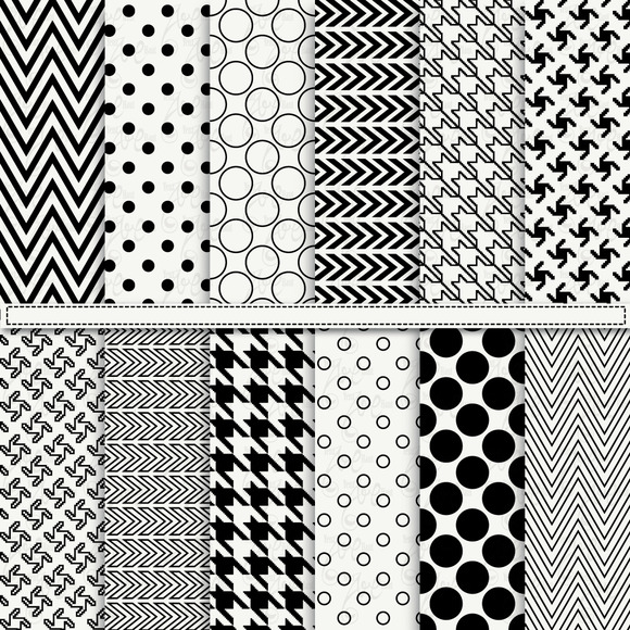 Black White Digital Paper Pack
