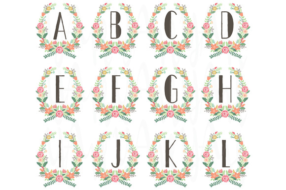 Wreath Monogram Table Card