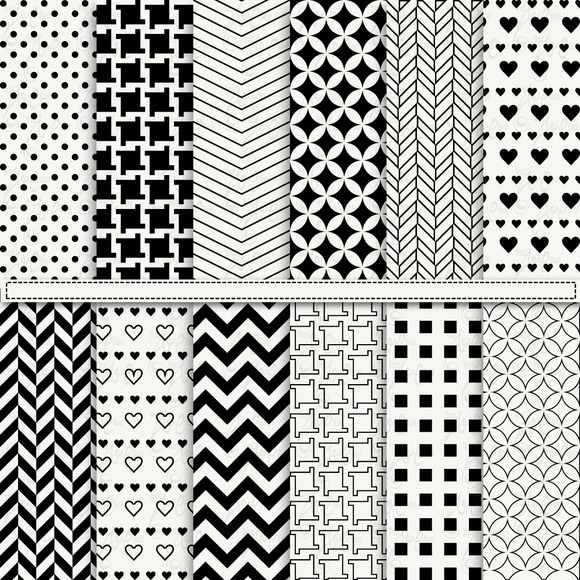 Black White Digital Paper