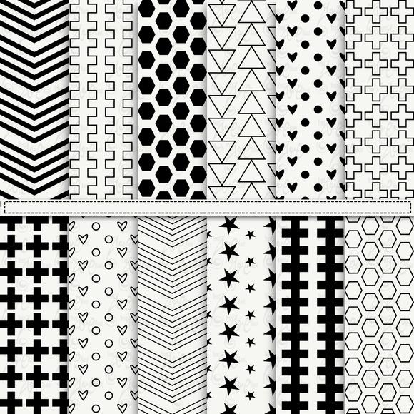 Black White Digital Paper Pack