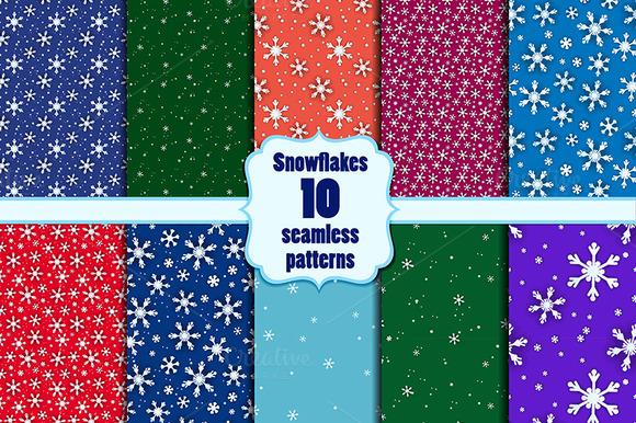 Snowflakes Seamless Set