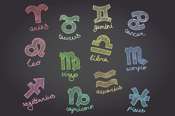Chalkboard Zodiac Symbols