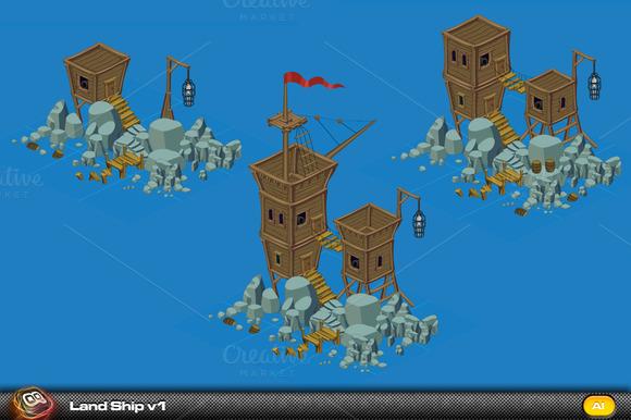 Land Ship Isometric Elements