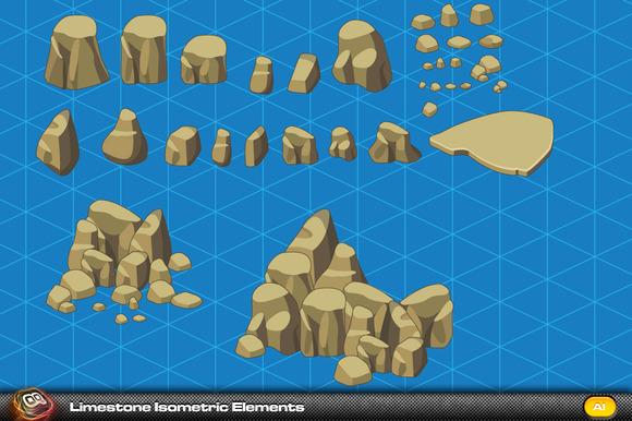 Limestone Rock Isometric Elements