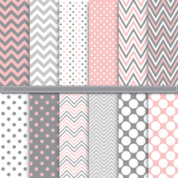 Chevron Polka Dot Digital Paper