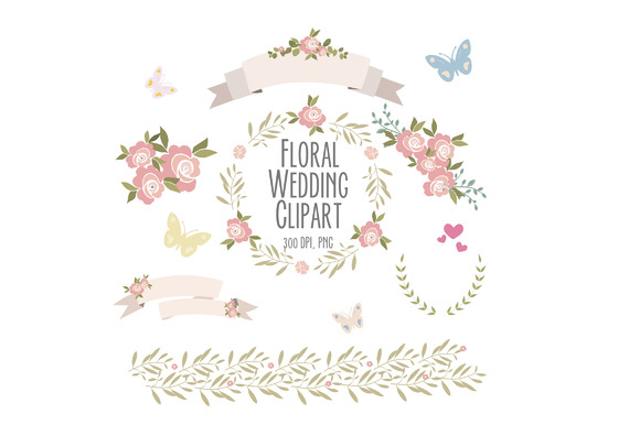 Pink Roses Clip Art Set